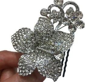 Floral Bridal Hair Comb, Flower Headpiece, Rhinestone Crystal Hair Jewelry, JARDIN