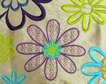 Pure Silk Fabric - Embroidered Dupioni - Turquoise, Purple, Green - Floral Flowers - Great for cushions & more