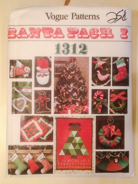 christmas paper crafts vogue pattern 1312 santa pack i by gogreenvintagestyle 1312