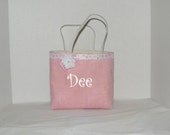 Pink Burlap  Gracie  Size Monogrammed, Personalized Tote, Flower Girl, Bridesmaids, Wedding, Birthday, Shower gift, Bag
