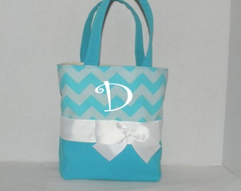 4 Turq  Chevron   Monogrammed/Personalized Tote, Purse, Bridesmaid Gift, Flower Girl, MOB, MOG,Cheer Squad, Brownie