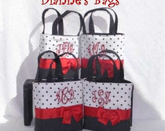 4 Callie Size Monogrammed Spit Tote,Bridesmaids gift, flower girl, MOG, MOB, custom, cheer team, teacher gift, Wedding, Shower