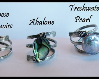 Hammered and Wire Wrapped Silver Rings with your choice of Abalone, Freshwater Pearl or Chinese Turquoise