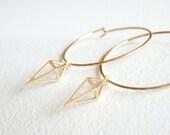 Gold Geometric - Arrow head hoop Earrings