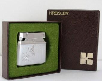 Kreisler Lighter Butane with Flower & Butterfly etching - Rare vintage cigarette lighter