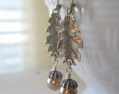Oak Leaf and Acorn Earrings, Acorn Earrings, Silver Earrings, Leaf Earrings, Leaf Jewelry,  Acorn Jewelry, Fall Leaves