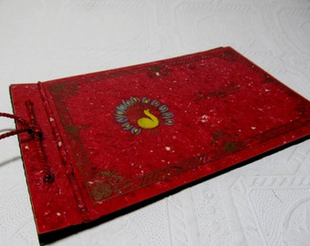 Red Photo Album Snap Shots Carved Cover Painted Peacock Scrapbook Celluloid Plastic