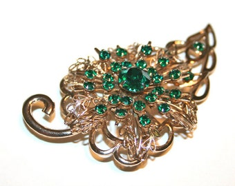 Vintage Rhinestone Brooch Green Leaf Bling Stamped Filigree