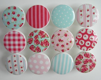 Red Rose Drawer Knobs Red Stripes Red Gingham Pink Polka Dot Red
