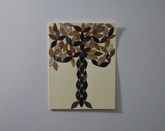 Black and Gold Shining Tree Note Card, Original Hand Cut Vintage Wallpaper, OOAK, Mosaic, Arts and Crafts, Mosaic, Texture, Stylized, Leaves