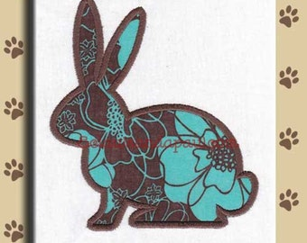 Applique Silhouette Bunny Embroidery Design Includes Multiple Sizes
