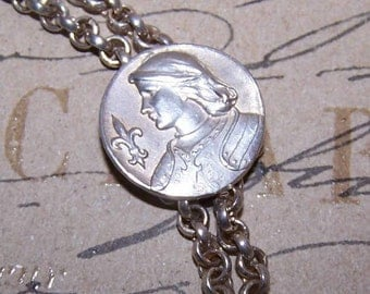 Antique Edwardian,FRENCH,Silverplate,Silver Plate,Necklace Enhancer,Pendant,Joan of Arc,Necklace Latch,Saint Joan of Arc,French Clip