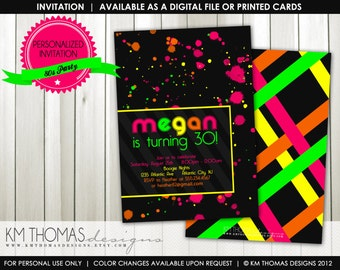 80s Theme Birthday Party: Neon Party - 80s Party - Printable Birthday Invitation - Digital - #184