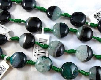 Black Sardonyx with Green Quartz Gemstone Beads, 15 MM Puffed Coin Shape SAR846