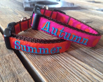 """XS or Sm Dog Collar Any Pattern, Name Color, and 5/8"""" width Size. Personalized Dog Collar. Dog Gone It. Embroidered Dog Collar."""