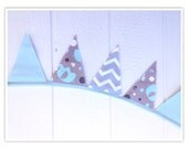 Elephant Banner, Baby Shower Banner, Elephant, Chevron Bunting, Brown, Teal, Chevron, Fabric Banner, Home Decor, Pennant Flags, Bunting