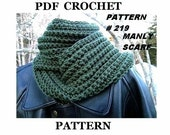 Crochet Pattern scarf MANLY SCARF, Unisex Scarf ... Crochet  PATTERN, no 219, instant download