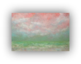 Field Sky and Clouds Landscape- Peach Green and White Oil Painting on Canvas- Large 24 x 36 Original Palette Knife Art