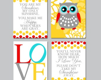 Owl Nursery Art Nursery Decor - You Are My Sunshine, Floral Owl, Love - Set of Four 11x14 Prints - CHOOSE YOUR COLORS