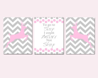 Baby Girl Nursery Art Trio - Chevron Deer - To Go To Sleep I Count Antlers Not Sheep Quote - Set of Three 8x10 Prints - Choose Your Colors