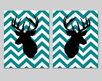 Chevron Deer Set of Two 11x14 Prints - Nursery, Home, Kids Wall Art, Office - CHOOSE YOUR COLORS - Shown in Black, White, and Teal