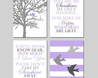 Nursery Decor Wall Art Set of 4 Prints in Purple and Grey Baby Girl Nursery Art - You Are My Sunshine, Three Birds in a Tree, Stripe Birds