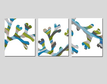 Colorful Coral Branch Trio - Set of Three 8x10 Coordinating Coral Branch Silhouette Prints - Beach Wall Art - CHOOSE YOUR COLORS