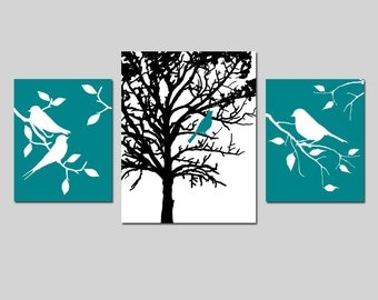 Modern Nature Trio - Set of Three Nursery Prints - Birds in a Tree - 8x10 and 11x14 - CHOOSE YOUR COLORS