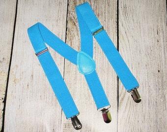 Blue Suspenders boys suspenders, baby suspenders, Infant toddler kids, photo prop, wedding ring bearer suspenders