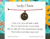 Lucky Charm - Wish Bracelet With Golden Horseshoe Coin - Shown In The Color RED  - Over 100 Different Colors Are Also Available