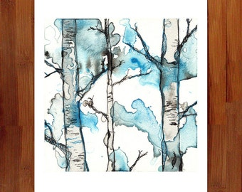Forest Wall Art, Landscape Art, Watercolor Print, Landscape Print, Forest Nursery, Forest Print, Woodland Decor, Prints Illustrations,8.5x11