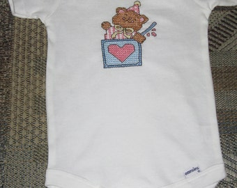 Onesie with Cross Stitched Bear