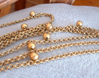 "54"" Vintage Brassy Gold Toned Necklace with Dangling Beads, Double Strands"