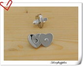 22mm  Nickel heart Magnetic Snap Closures - Pack of 20sets F29