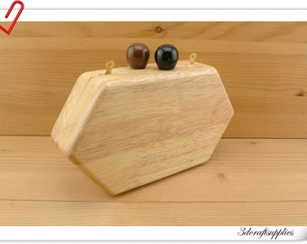 wood box purse frame 19.5cm x 11 cm (7 3/4  inch x 4 1/4  inch ) M80