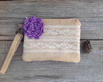 Purple Bridesmaid Clutch, Spring Wedding Bag, Burlap and Lace Wristlet, Rustic Chic Wedding, Spring Wedding Bag, Maid of Honor Bag