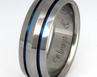 Thin Blue Line Titanium Ring - Blue Wedding Band - b17