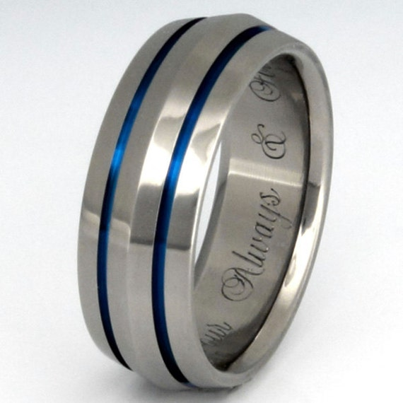Thin Blue Line Titanium Ring Blue Wedding Band b17