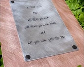 Anniversary Keepsake 10 Year Anniversary Aluminum & Copper Custom Hand Stamped 5x7 or 8x10 Wedding Vows Personalized Wall Plaque by MyBella