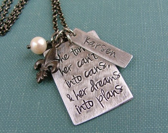 She Turned Her Can'ts Into Cans & Her Dreams Into Plans Custom Hand Stamped Personalized Neclace with Name and Freshwater Pearl by MyBella