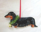 Hand-Painted DACHSHUND LONGHAIR BLACK Wood Christmas Ornament...choose pine or candy cane