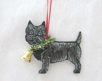 Hand-Painted CAIRN TERRIER BLACK Wood Christmas Ornament...Artist Original, Christmas Tree Ornament Decoration