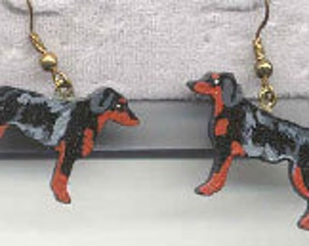 Wooden GORDON SETTER Handpainted Dog Breed Earrings