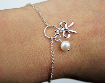 Textured Circle, Tiny Bow and Pearl Bracelet - Adjustable Sterling Silver Bow and Pearl Bracelet