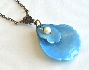 Real Rose Petal Necklace - Blue Necklace, Real Flower Jewelry, Nature Necklace, Nature Jewelry