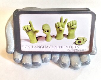 Hand Business Card Holder - Unique Art - Desk Accessory Gift for Chiropractor, Massage Therapists - Made to Order - You Pick Colors