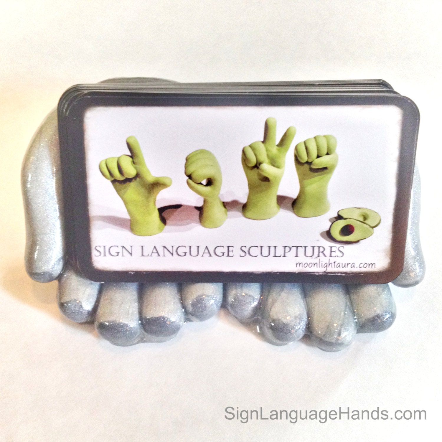 Hand Business Card Holder Unique Art Desk Accessory Gift