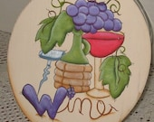 Wine Motif, Wine Cookie Jar Lid,Kitchen Decor,Wine Kitchen Decor,Decorative Painted Wine,Grapes decor,Whimsy Wine Decor,Tole Painted Wine