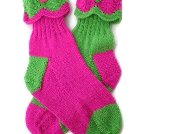 Socks - Hand Knit Women's Bright Green and Bright Pink Socks - Size 6-8