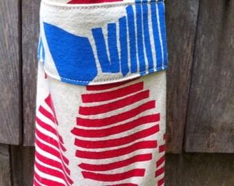 Nautical Wine Bag FREE SHIPPING  Tote Bottle Bag Beach Wedding Red White Blue Fish
